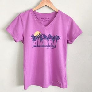 Life is Good Palm Tree V-neck Tee